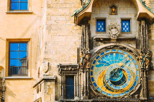 Aluminium Praag Astronomical Clock In Prague, Czech Republic. Close Up Photo