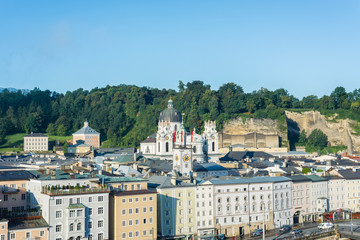 Salzburg general view from Kapuzinerberg viewpoint, Austria
