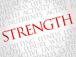 Strength word cloud, health concept