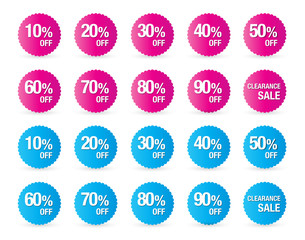 set of percent discount sign icons, sale symbol, stars stickers