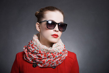 Portrait of a beautiful woman wearing sunglasses