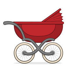 Colorful red buggy or baby carriage