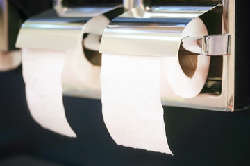Closeup toilet paper holder