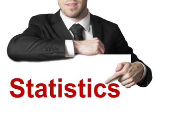 businessman pointing on sign statistics