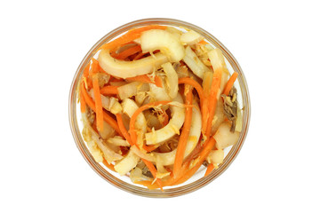Salad of squid with vegetables in a glass cup
