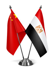 China and Egypt - Miniature Flags.