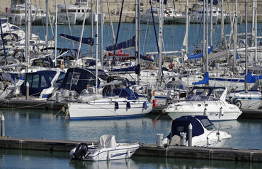 Italy; 2 april 2015, luxury yachts in the marina - EDITORIAL