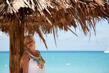 girl in tropical beach