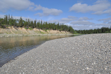 Pebble beach North of the river.