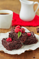 Fresh Delicious Chocolate brownie with raspberry