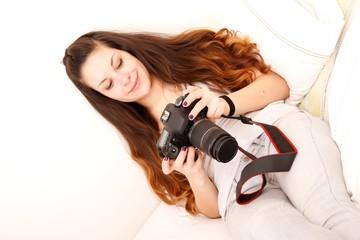 Mit dem Fotoapparat im Bett