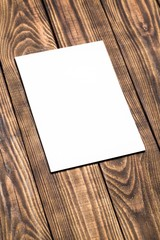 Blank. Photo blank brochure cover on a wooden vintage texture