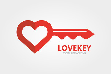 Logo combination of a key and heart.