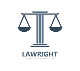 Justice scales lawyer logo