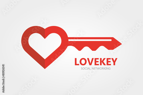 Logo combination of a key and heart. - 80926341