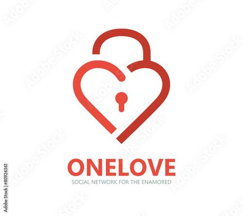 Red heart lock vector logo - 80926361