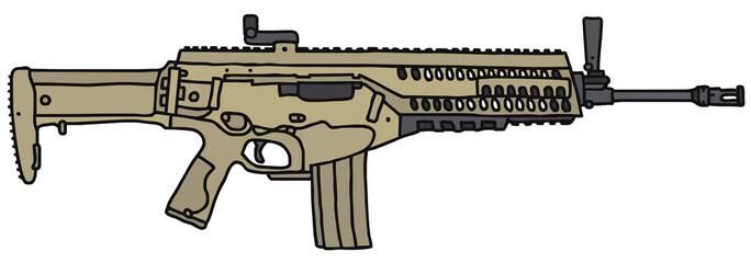 Modern automatic gun/ vector illustration, hand drawing
