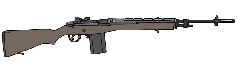 Old automatic gun/ vector illustration, hand drawing