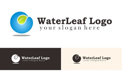 Water Leaf Logo Vector
