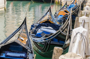 Gondolas waiting for you in Venice.