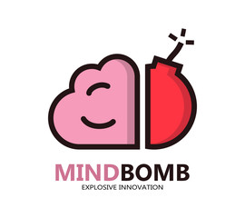 Logo with a combination of brain and bomb
