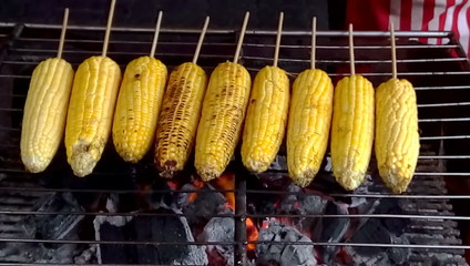 Grilled fresh corn in local market in Thailand