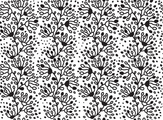 Vector seamless floral pattern black silhouette.