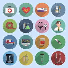 Multicolored medicine icon flat