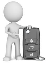 Car Key. The dude 3D character holding Car Key.