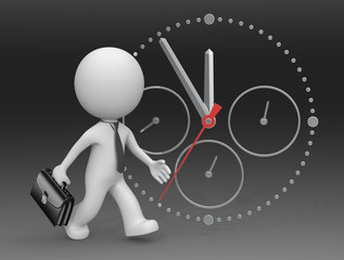 Hurry Up.The dude 3D character businessman rushing against clock