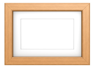 Wooden picture frame with Passepartout. Teak, isolated.