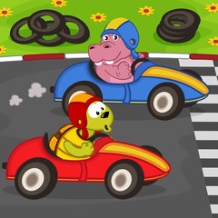 animals in a car racing - vector illustration, eps