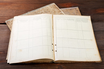 old office notebook on vintage table
