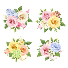 Set of bouquets of colorful roses and lisianthus flowers.