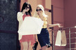 Two young fashion women with shopping bags at the mall