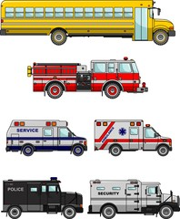 Set of different special cars. Vector illustration