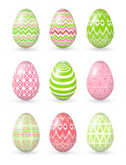 Easter eggs on the white background.