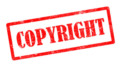 Roter Copyright Stempel und Logo, weißer Hintergrund