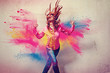 Leinwandbild Motiv dancing girl in powder explosion - movin 06