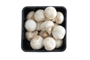 Container of farm fresh button mushrooms