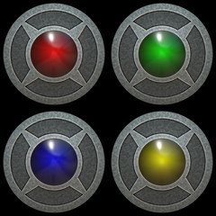Metal color buttons isolated texture