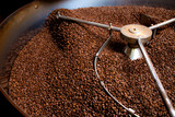 Roasting process of coffee, screening and cooling in the hopper © Alextype