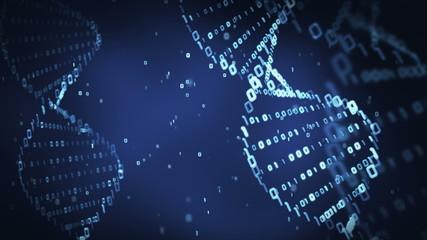 binary DNA molecule on blue background (loop)