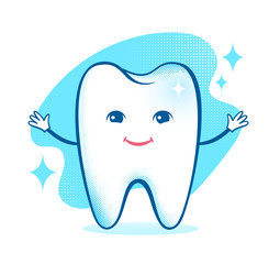 Healthy happy tooth character.