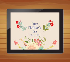 happy mother day with floral on tablet