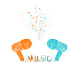 i love music doodle art colorful poster