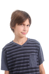 confused boy on a white background