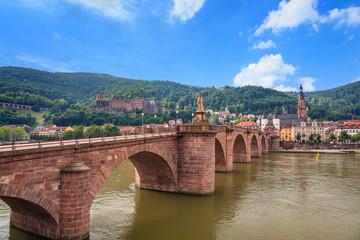 Heidelberg city skyline and Alte bridge, Germany