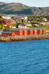 Red houses on the bay of Alta, Norway