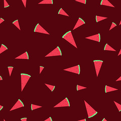 Vector seamless cute watermelon light slices in flat style